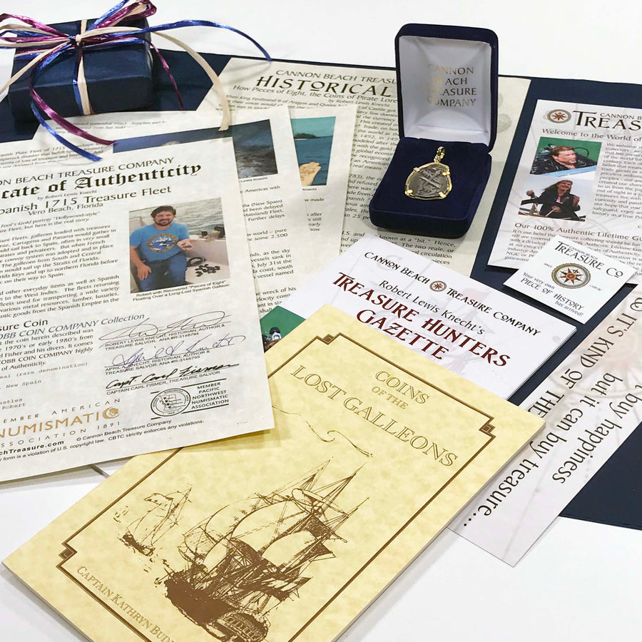 The Documentation Package Included with your 1715 Fleet Treasure Coin Jewelry