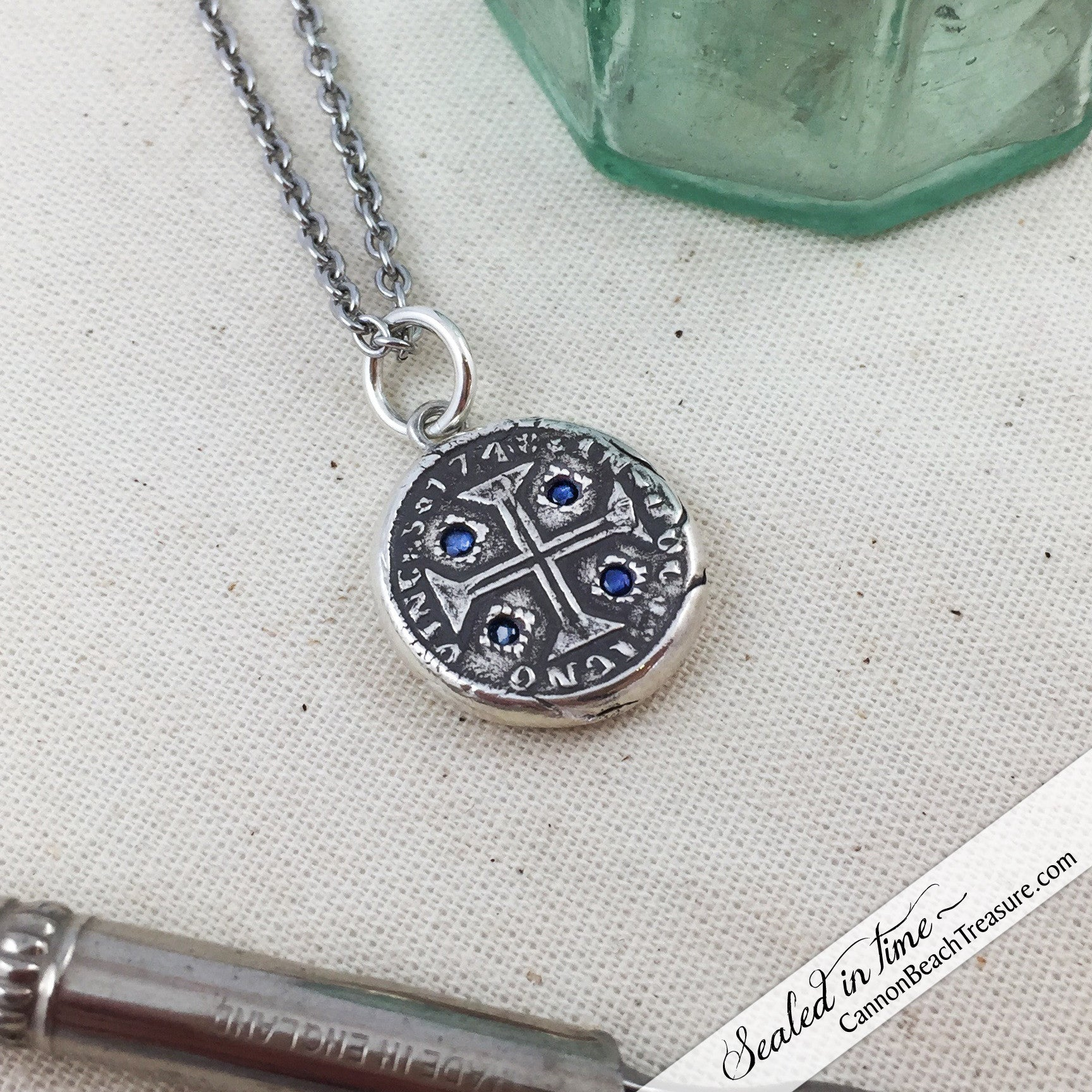 Cross of Christ Fine Silver Wax Seal Necklace with Blue Sapphires | Seal Date & Origin: 1742, Antwerp, Belgium #S3357