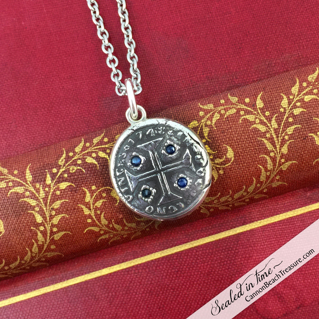 Cross of Christ Wax Seal Necklace with Blue Sapphires