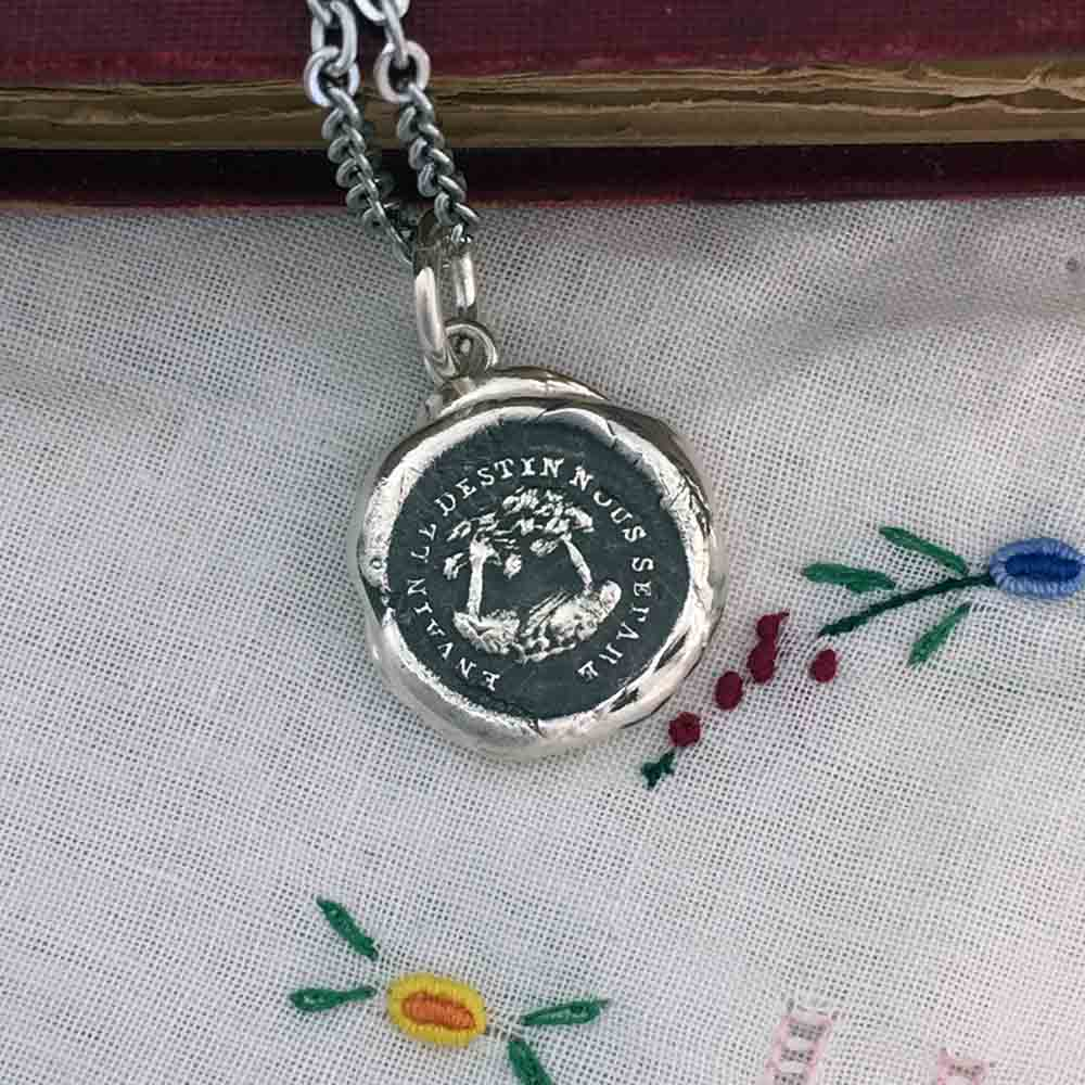 You are My Destiny Fine Silver Wax Seal Pendant