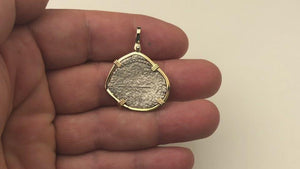 VIDEO Mel Fisher's Atocha Rare 2 Reale Shipwreck Coin 14K Gold Necklace