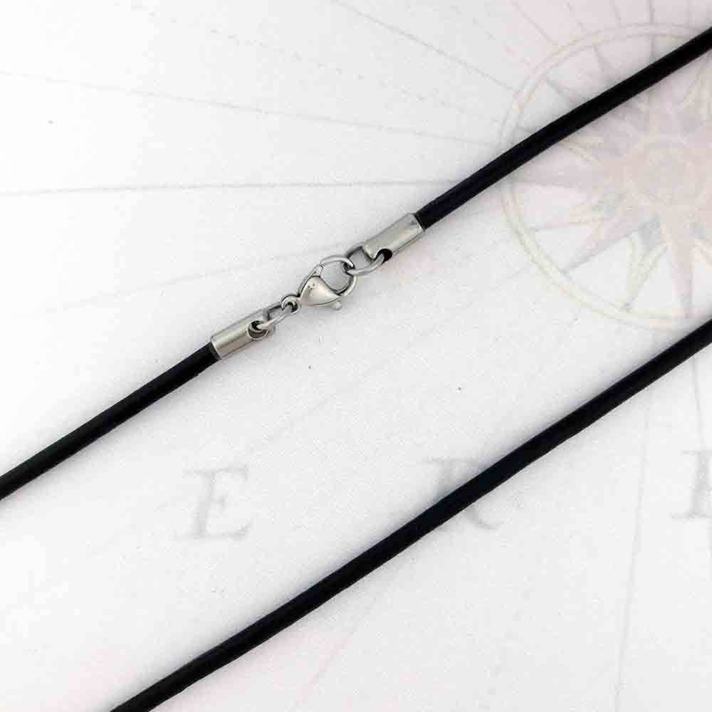 3.0 mm Black Center-Hide Leather Necklace Finished in Stainless Steel