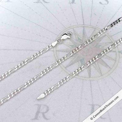 3.1 mm Sterling Silver Flat Figaro Chain | For Men & Women