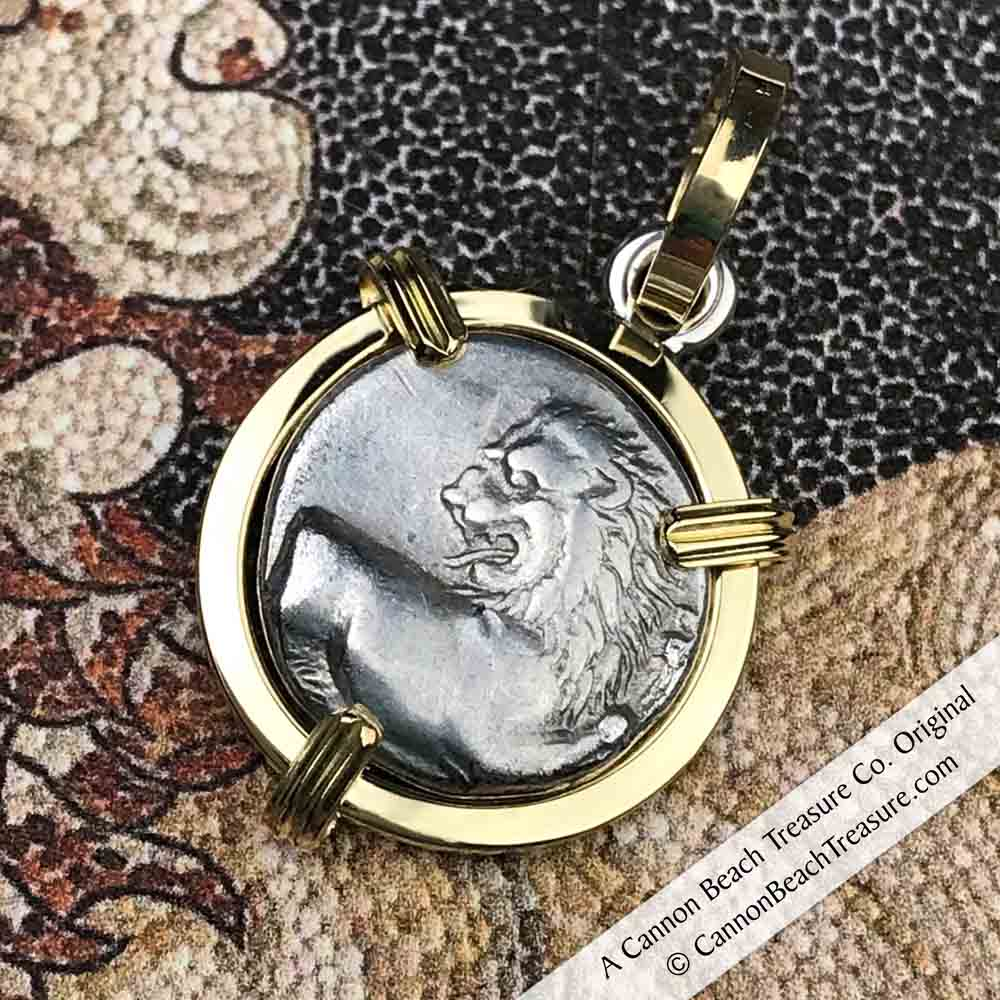 Ancient Greek Lion Hemidrachm 400 BC 18k Gold Necklace