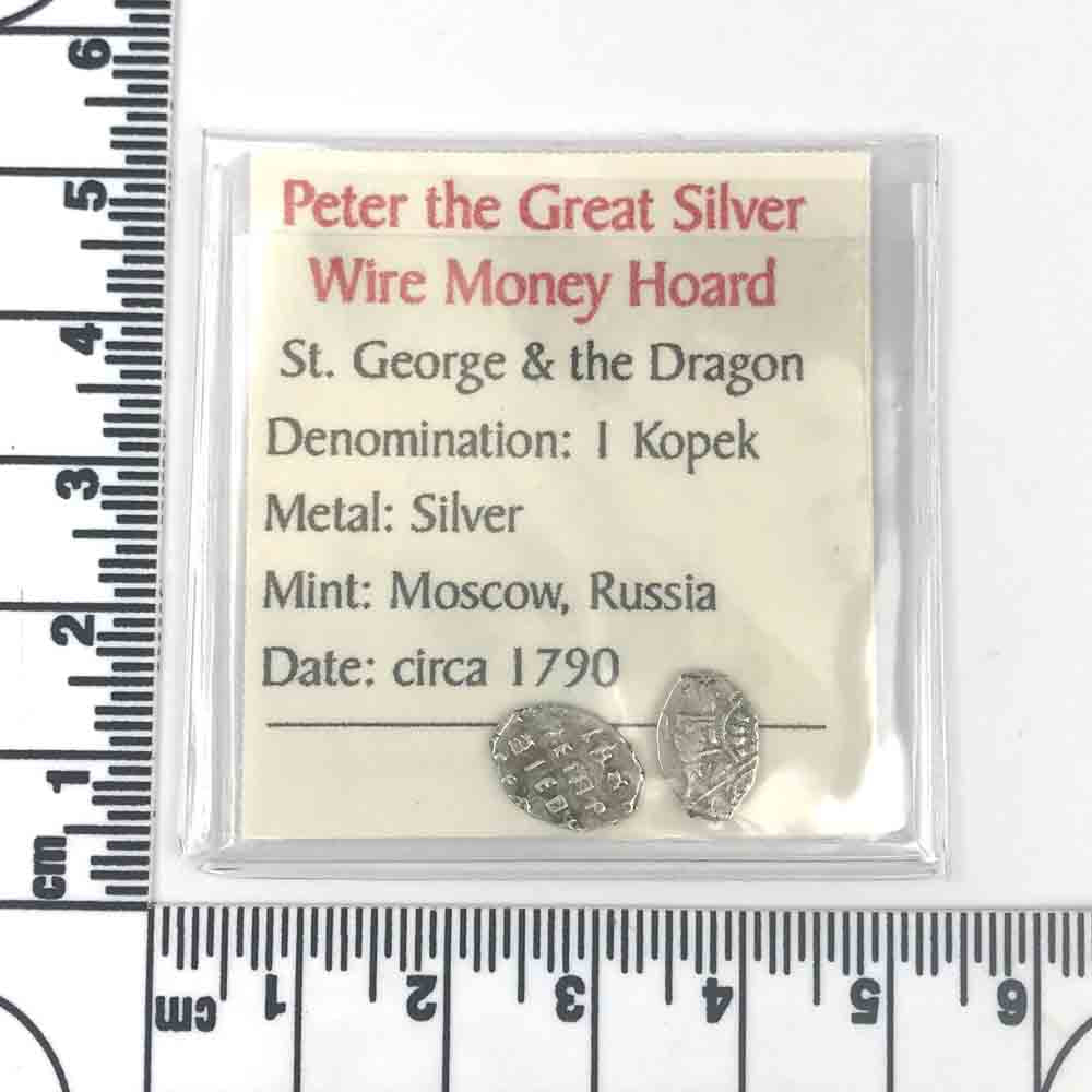 The Silver Wire Money of Russian Tsar Peter the Great 2 Pack