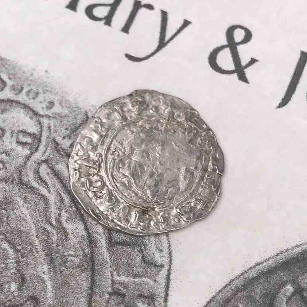 Silver Hungary Denar Coin with Mary & Baby Jesus circa 1590