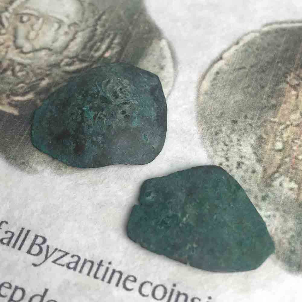 Ancient Bronze Byzantine Cup Coins with Portrait of Jesus Christ 2 Pack