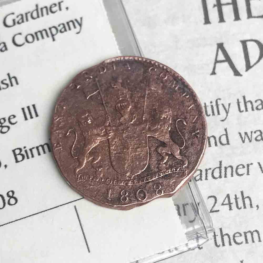 Grade 3 Admiral Gardner Shipwreck Copper 10 (X) Cash British East India Company Coin