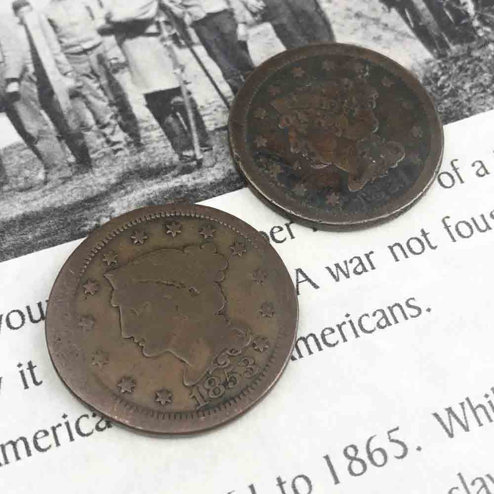Civil War Activity Area Dug U.S. Copper Large Cent Grade 3