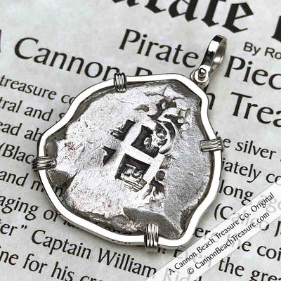 "1754 Spanish 8 Reale Pirate ""Piece of Eight"" Silver Necklace"