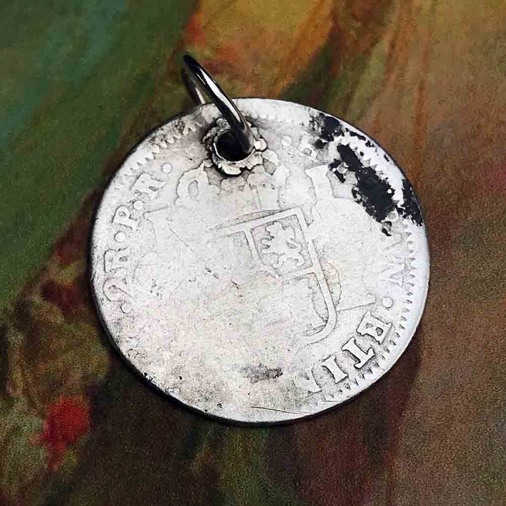 "Pirate Chic Silver 2 Reale Spanish Portrait Dollar - the Legendary ""Piece of Eight"" Necklace Dated 1789"