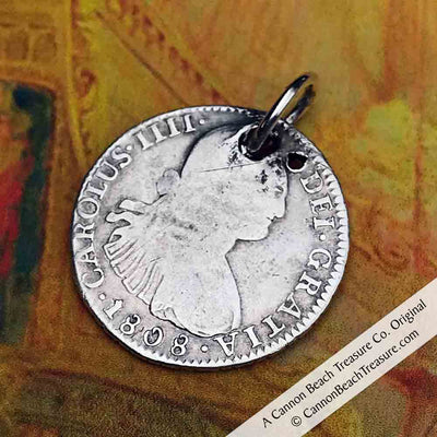 "Pirate Chic 2 Reale Spanish Portrait Dollar - the Legendary ""Piece of Eight"" Dated 1808"