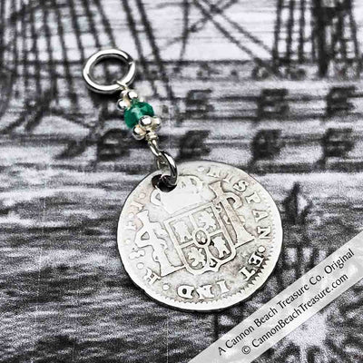 "Pirate Chic 1/2 Reale Spanish Portrait Dollar - the Legendary ""Piece of Eight"" Necklace Dated 1816 with Genuine Emerald"