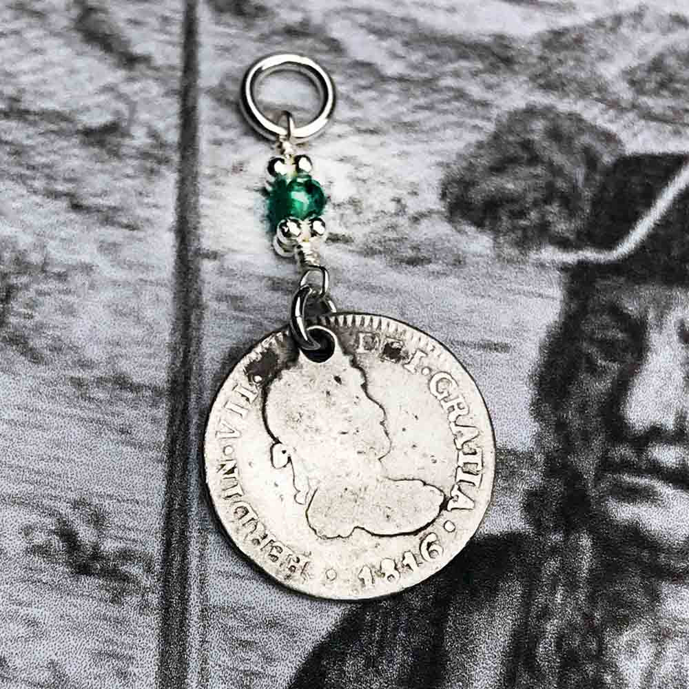 "Pirate Chic Silver 1/2 Reale Spanish Portrait Dollar - the Legendary ""Piece of Eight"" Necklace Dated 1816 with Genuine Emerald"