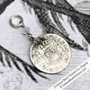 "Pirate Chic 1/2 Reale Spanish Portrait Dollar - the Legendary ""Piece of Eight"" Necklace Dated 1819 with Genuine Aquamarine"