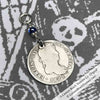 "Pirate Chic 1 Reale Spanish Portrait Dollar - the Legendary ""Piece of Eight"" Necklace Dated 1821 with Genuine Sapphire"