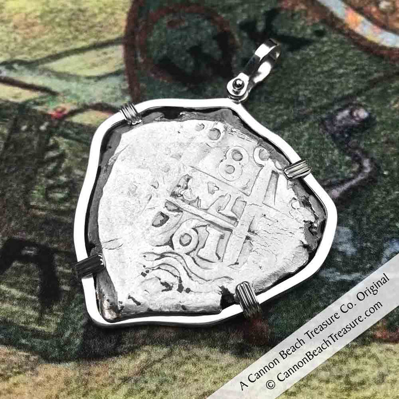"1761 Spanish 8 Reale Pirate ""Piece of Eight"" Silver Necklace 