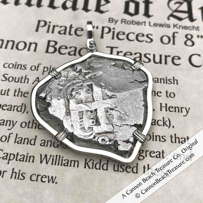 "1761 Spanish 8 Reale Pirate ""Piece of Eight"" Silver Necklace"