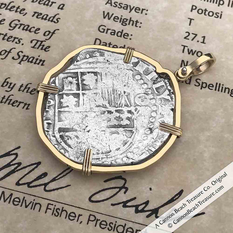 Mel Fisher's Atocha 8 Reale Shipwreck Coin 14K Gold Necklace