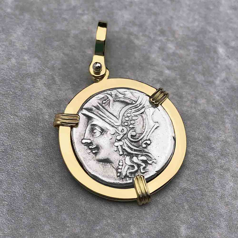Roman Republic Silver Roma & Victory Denarius Coin Necklace 104 BC in 18K Gold