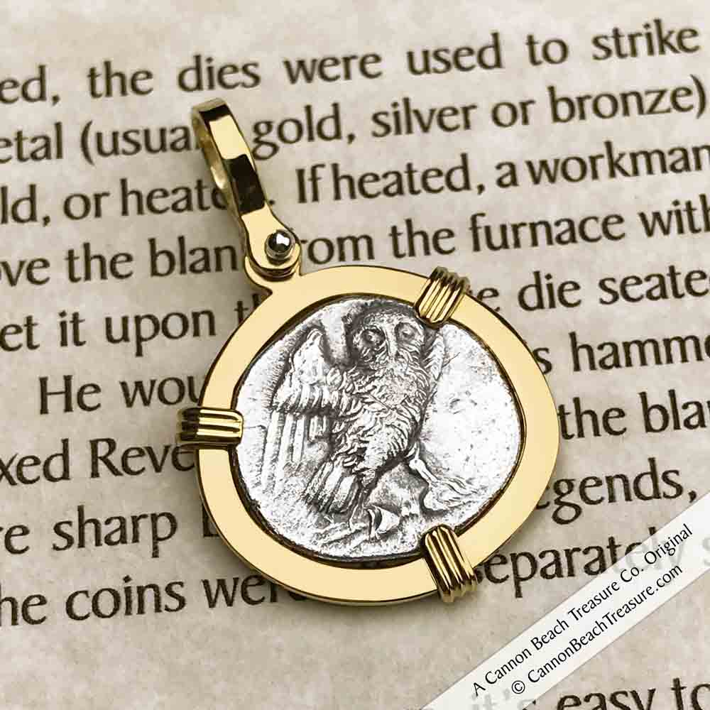 Ancient Greece Athena and the Owl 300 BC Silver Drachm Necklace in 18K Gold