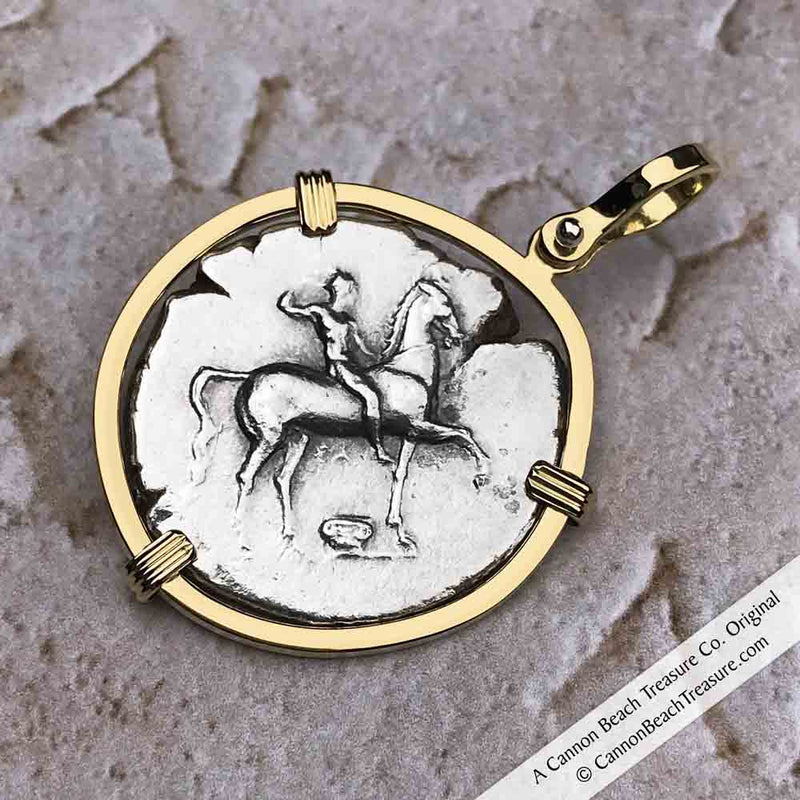 Ancient Greece Boy on the Dolphin Silver Nomos 310 BC Necklace in 18K Gold | Artifact #3423
