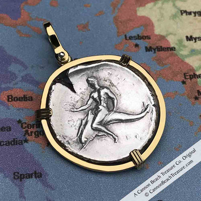 Ancient Greece Boy on the Dolphin Silver Nomos 310 BC Necklace in 18K Gold