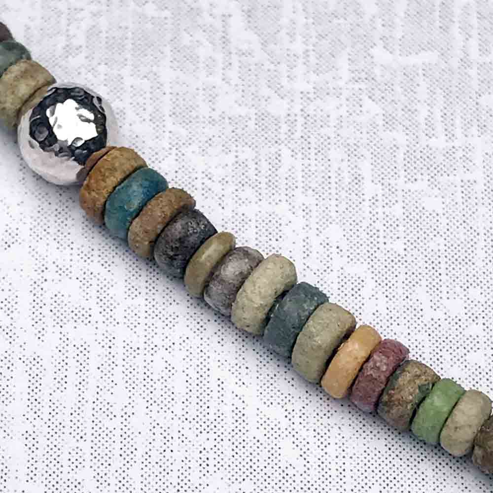 Ancient Egyptian Faience Mummy Bead Necklace in Sterling Silver