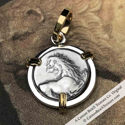 Ancient Greece Lion Hemidrachm 400 BC Necklace in 18k Gold & Sterling Silver