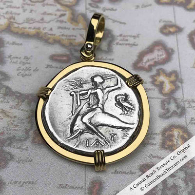 Ancient Greece Boy on the Dolphin Silver Stater 272 BC Necklace in 18K Gold