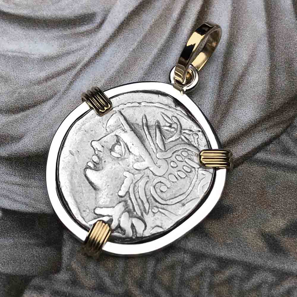 Roman Republic Silver Roma & Saturn Denarius Coin Necklace 104 BC in Sterling & 14K Gold
