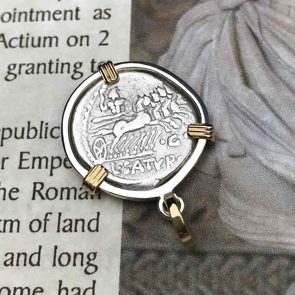 Roman Republic Silver Roma & Saturn Denarius Coin Necklace 104 BC in Sterling & 14K Gold | Artifact #3531