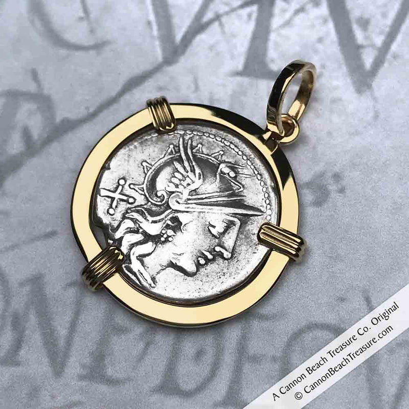 Roman Republic Silver Roma & the Dioscuri Gemini Denarius Coin Necklace