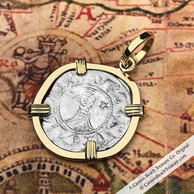 "Medieval Antioch Crusader Denier - the famed ""Helmet Head"" Coin of the Crusades 18K Gold Necklace"