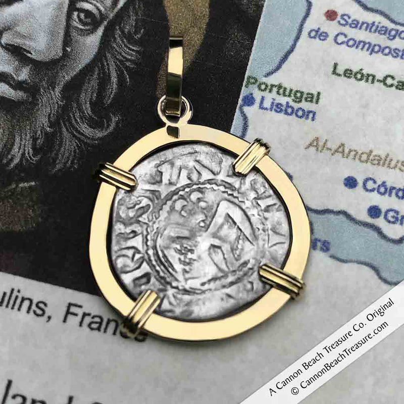 Templar Knights Era Medieval Angel Denier - the Silver French Coin of the Crusades 18K Gold Pendant | Artifact #3569
