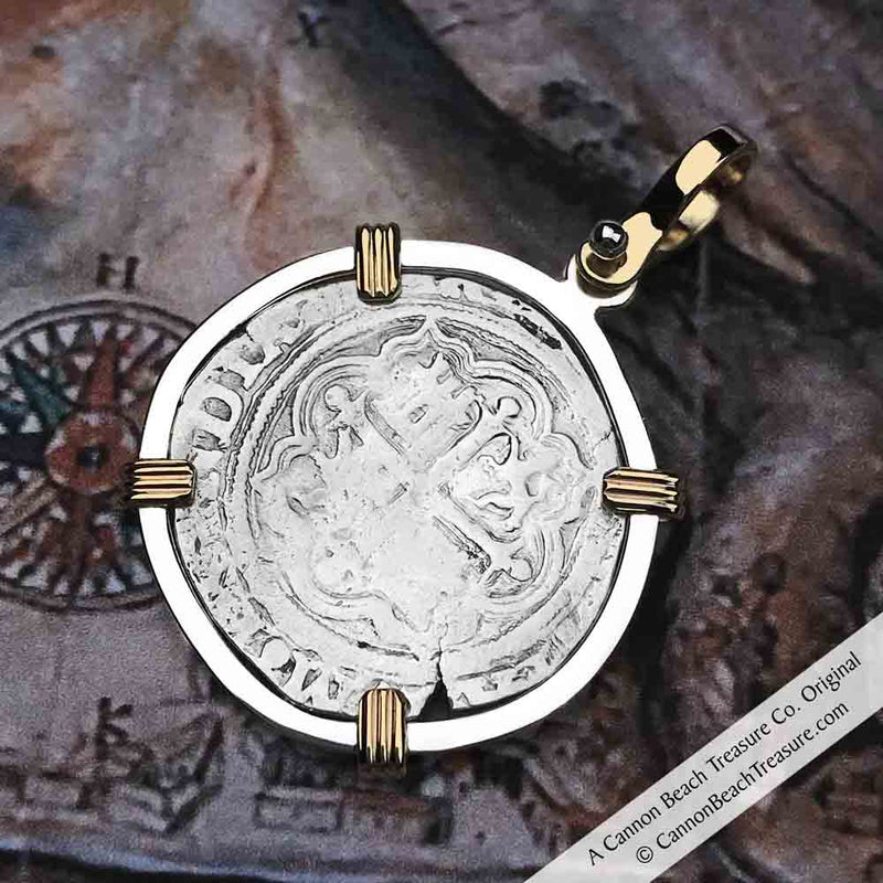 "Circa date 1580 Spanish 1 Reale Cob Pirate ""Piece of Eight"" Necklace in 14K Gold  and Silver"