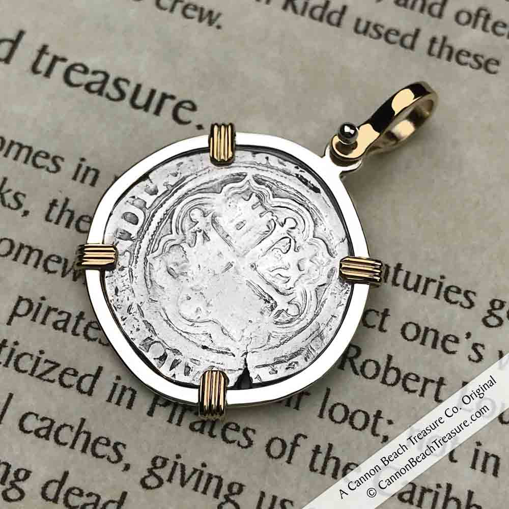 "Spanish 1 Reale Cob Circa 1580 Pirate ""Piece of Eight"" Necklace in 14K Gold  and Silver 