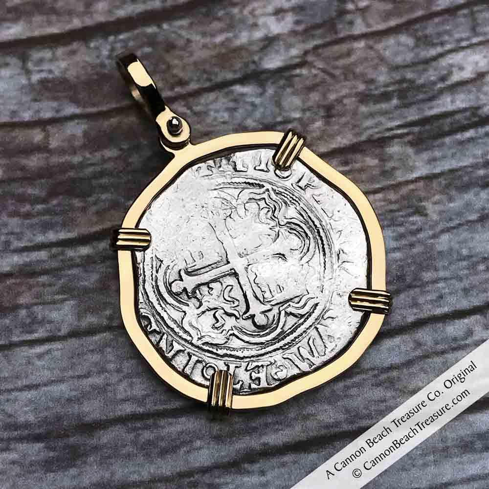 "Circa 1580 Spanish 1 Reale Cob Pirate ""Piece of Eight"" Necklace in 14K Gold"