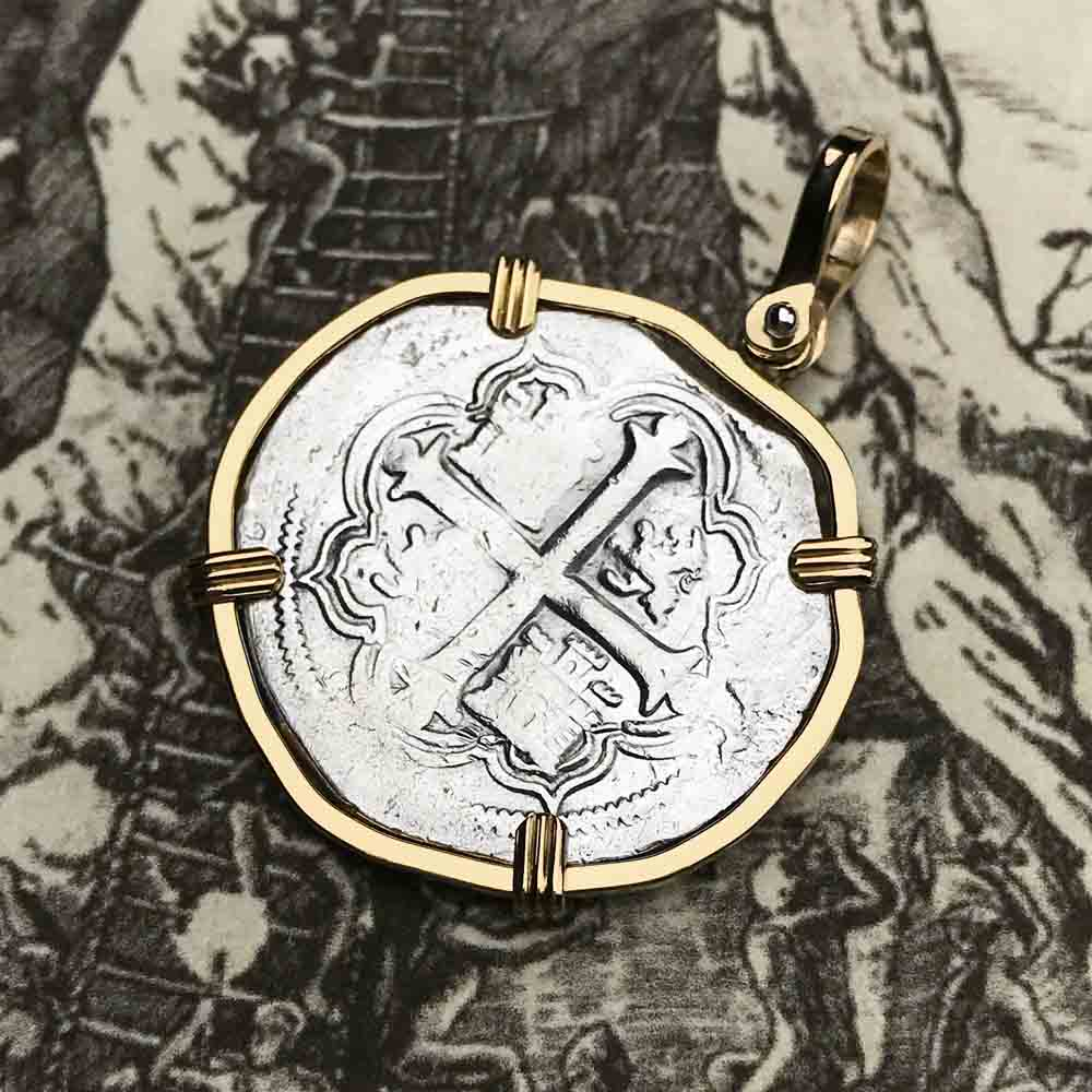 "Spanish 2 Reale Cob Circa 1607 Pirate ""Piece of Eight"" Necklace in 14K Gold"