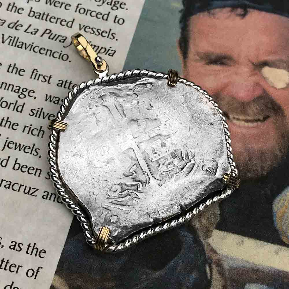 Concepcion Shipwreck Spanish 8 Reale Silver Piece of Eight Sterling & 14K Gold Necklace | Artifact #3657