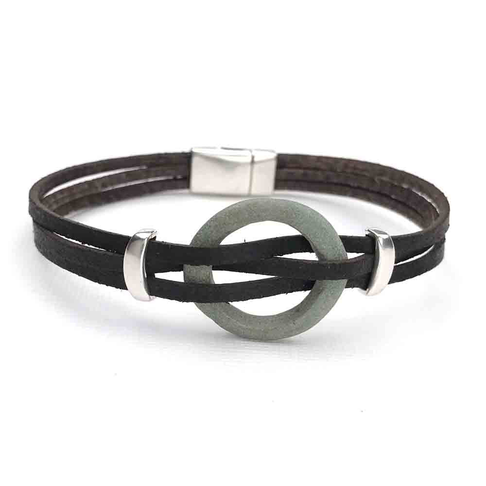 "Celtic Ring Money 9 1/2"" Bracelet in Black Leather & Silver"