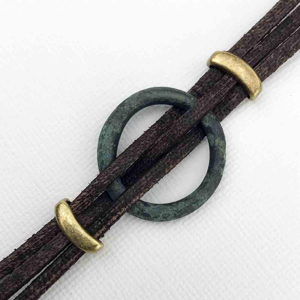 "Celtic Ring Money 10 1/2"" Bracelet in Brown Leather & Bronze"