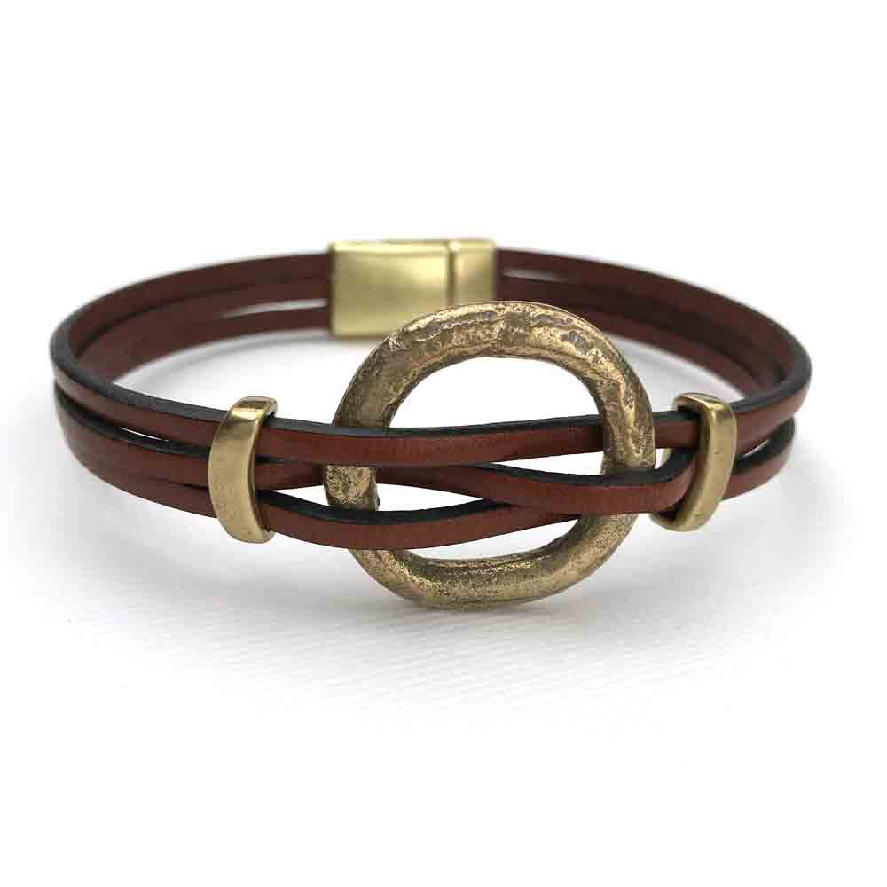 "Celtic Ring Money 8 1/2"" Bracelet in Mahogany Brown Leather & Bronze"