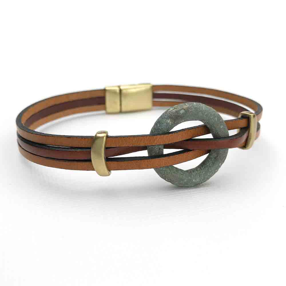 "Celtic Ring Money 10"" Bracelet in Mahogany & Sable Brown Leather & Bronze"