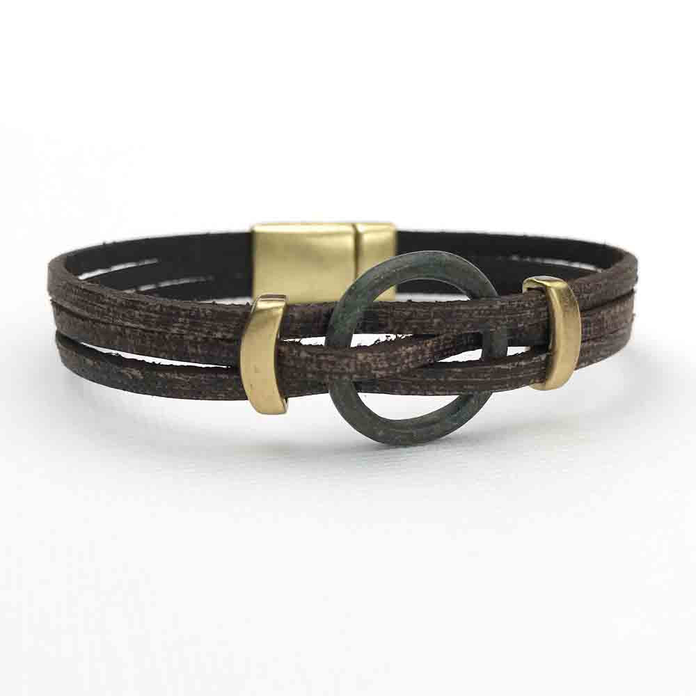 "Celtic Ring Money 8"" Bracelet in Brown Leather & Bronze"