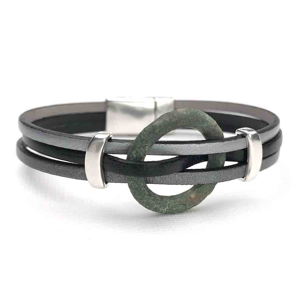 "Celtic Ring Money 7 1/2"" Bracelet in Gray and Black Leather & Silver"