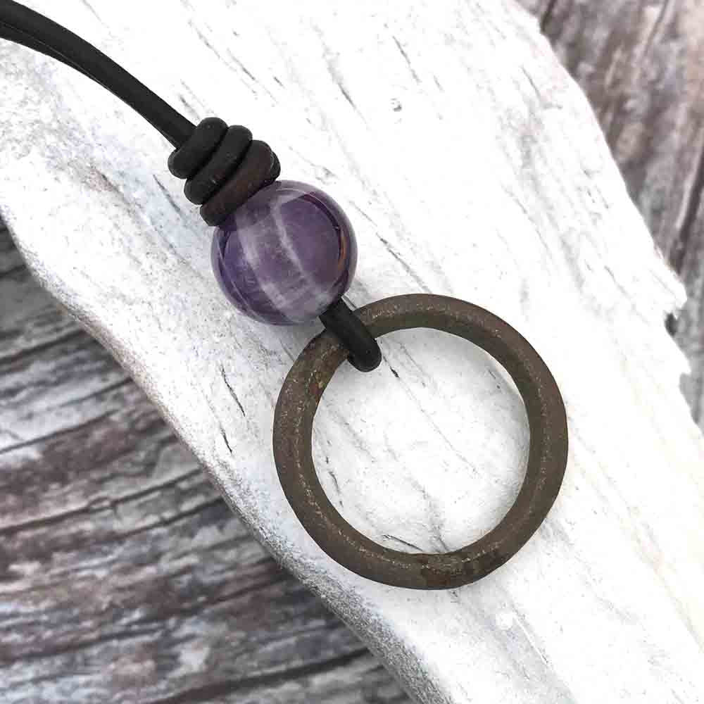 Deep Bronze Celtic Ring Money & Genuine Amethyst Leather Necklace