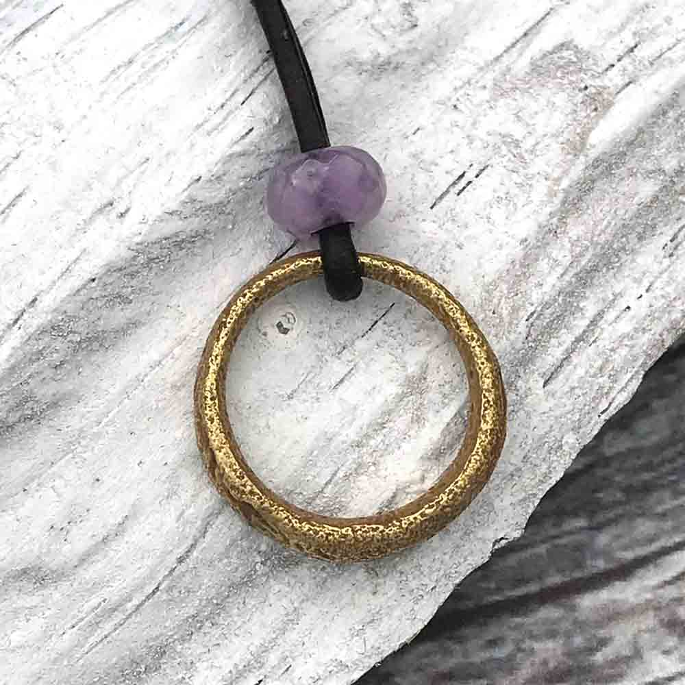 Bright Golden Bronze Celtic Ring Money & Genuine Amethyst Leather Necklace