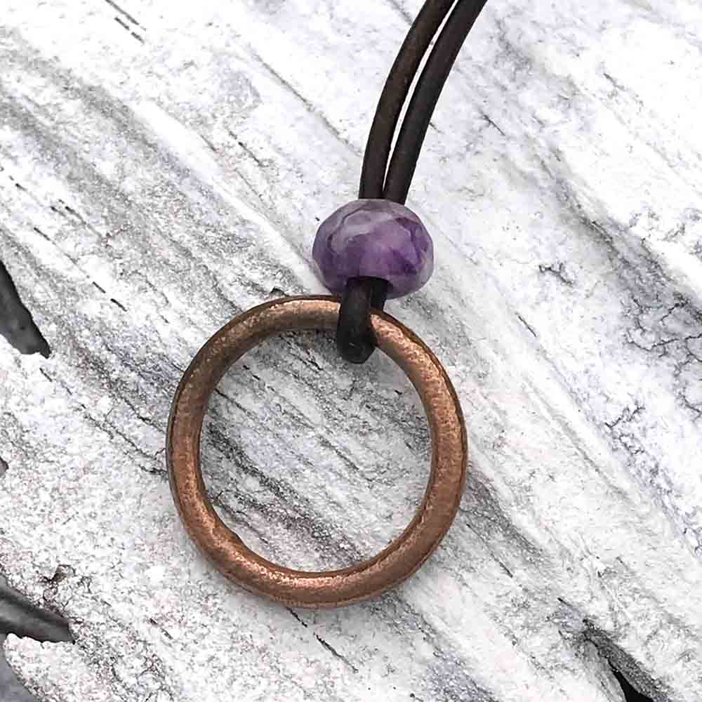 Purple, Red Patinated Bronze Celtic Ring Money & Genuine Amethyst Leather Necklace