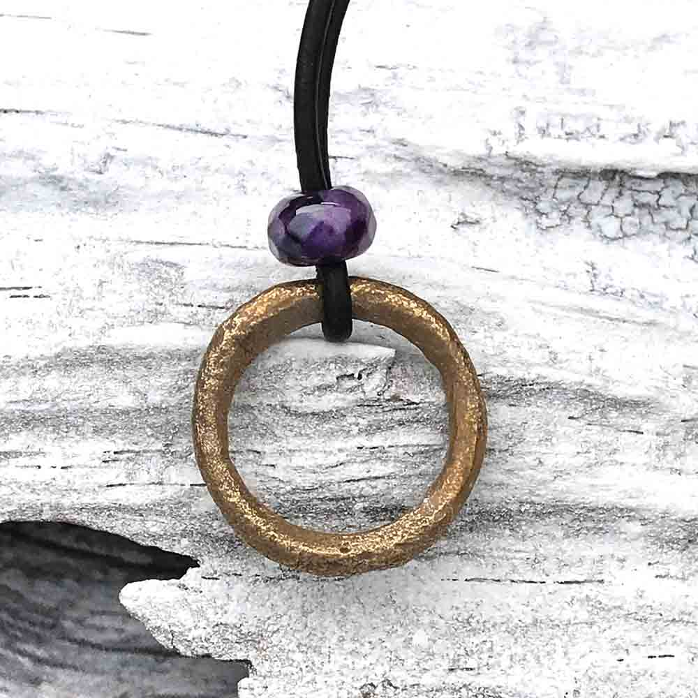 Dark Golden Raised Ridge Bronze Celtic Ring Money & Genuine Amethyst Leather Necklace